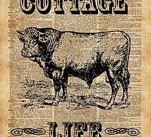 Kitchen Decor Cottage Life Cow Vintage Artwork by DictionaryArt