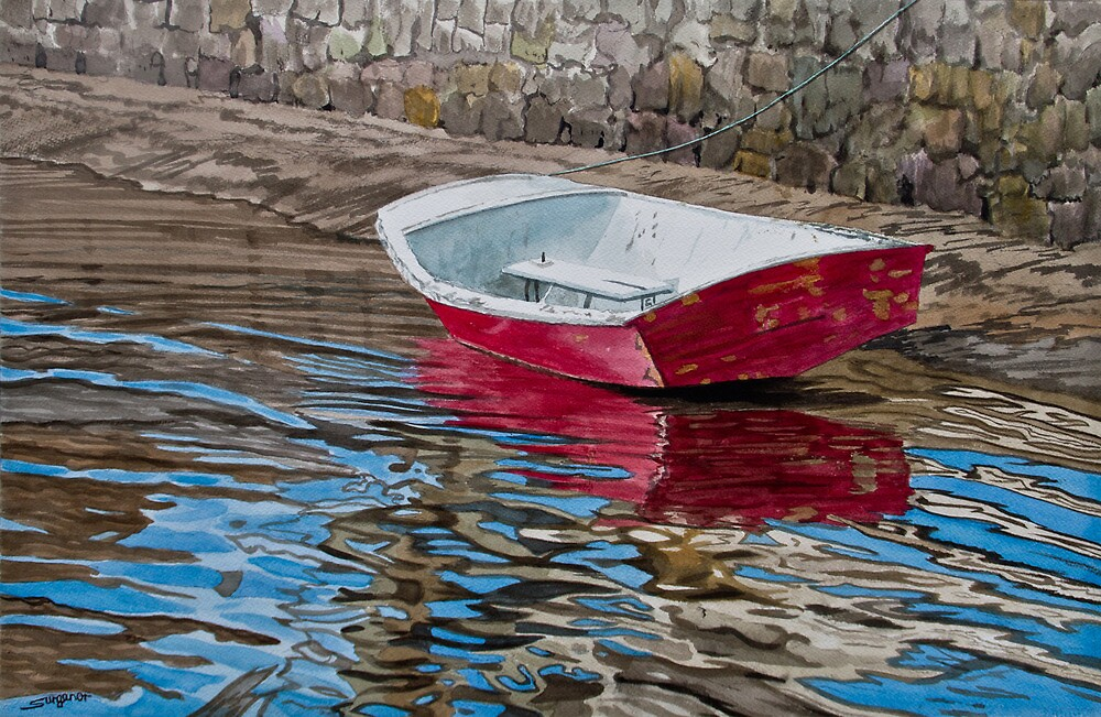 Red boat by Freda Surgenor