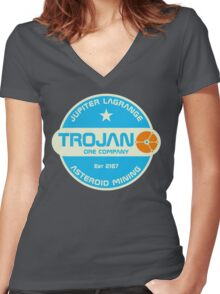 Trojan Asteroid Mining Women's Fitted V-Neck T-Shirt