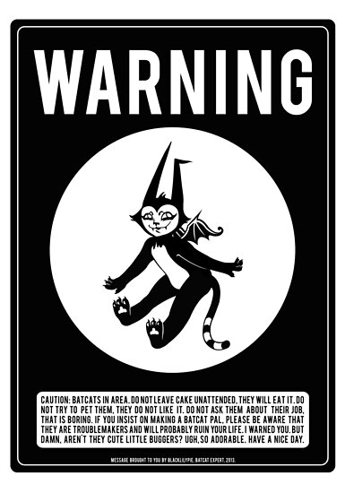 Warning Batcats by blacklilypie