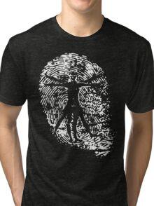 Vitruvian Man Fingerprint (Dark) Tri-blend T-Shirt
