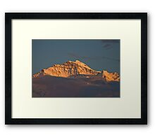 Jungfrau closeup at sunset Framed Print
