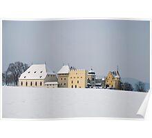 Lenzburg castle seen over a snowy hilltop Poster