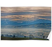Looking at the Alps from the foothills of Aargau in winter Poster