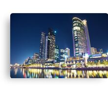 Melbourne South Wharf at night Canvas Print