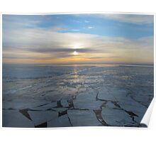 freezing sunrise offshore Poster