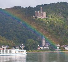 Rainbow glowing castle along the Rhine River in Southern Germany by Michael Brewer