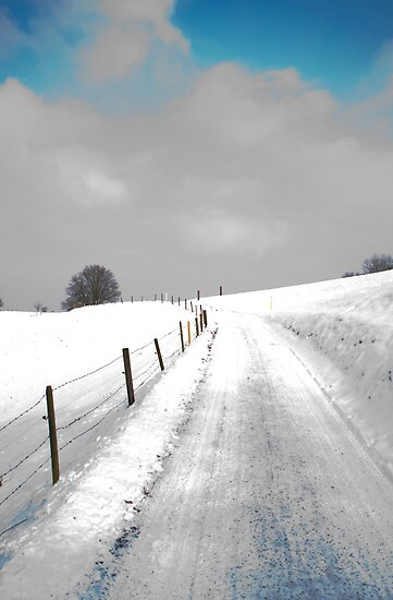 snowy road under a blue sky by Michael Brewer