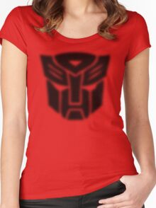 Halftone Autobot Symbol, Black Women's Fitted Scoop T-Shirt