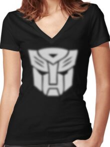 Halftone Autobot Symbol, White Women's Fitted V-Neck T-Shirt