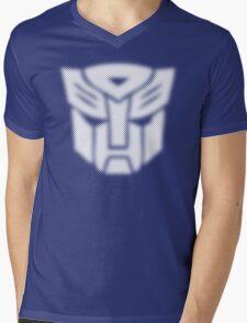 Halftone Autobot Symbol, White Mens V-Neck T-Shirt