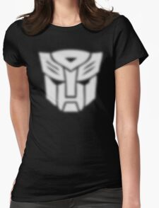 Halftone Autobot Symbol, White Womens Fitted T-Shirt