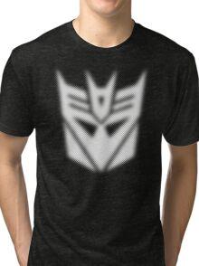 Halftone Decepticon Symbol, White Tri-blend T-Shirt
