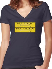 Per Rialto, Per San Marco, Venice Street Sign, Italy Women's Fitted V-Neck T-Shirt