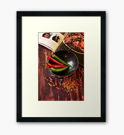 Preparing Fresh Chillies Beside Indian Cook Book Framed Print