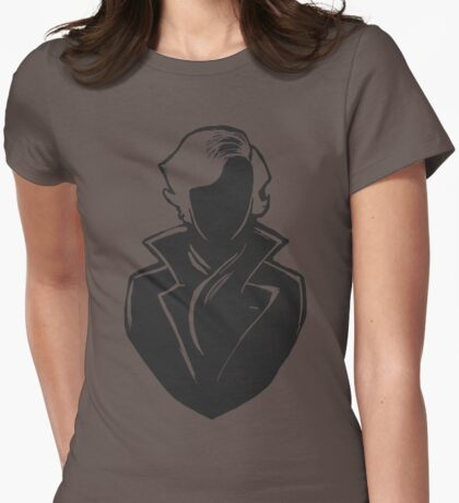 Sherlock Silhouette (Dark Grey) Womens Fitted T-Shirt