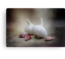 Smoked Smouldering Fresh Raw Garlic Bulbs and Cloves Canvas Print