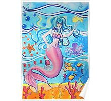 Pink Tailfin Mermaid Poster