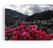 Sierra Madre With Bougainvillea - Sierra Madre Con Buganvilla Canvas Print