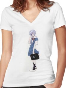 Ayanami Rei Evangelion Women's Fitted V-Neck T-Shirt