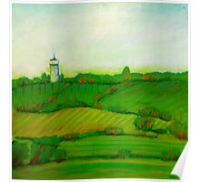 Fields in Greens and Blues, mixed media on canvas Poster