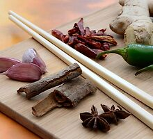Chinese Thai Cookery Ingredients and Chop Sticks by HotHibiscus