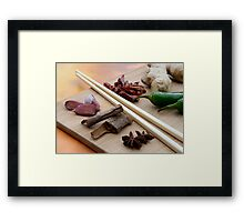 Chinese Thai Cookery Ingredients and Chop Sticks Framed Print