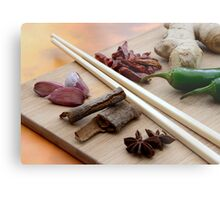 Chinese Thai Cookery Ingredients and Chop Sticks Metal Print