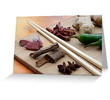 Chinese Thai Cookery Ingredients and Chop Sticks Greeting Card