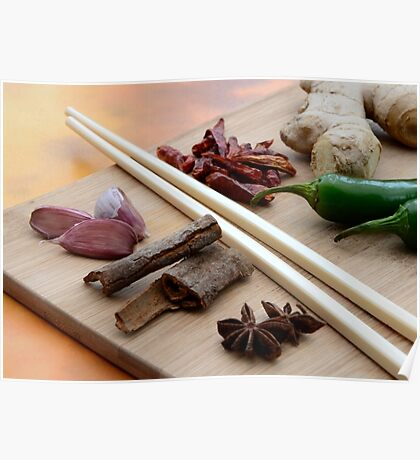 Chinese Thai Cookery Ingredients and Chop Sticks Poster