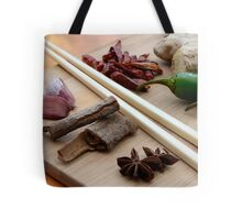 Chinese Thai Cookery Ingredients and Chop Sticks Tote Bag