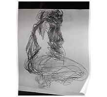 Life drawing(4 of 6) -(080212)- black biro pen/digital photo Poster