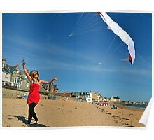 Kite Flying at the Beach Poster