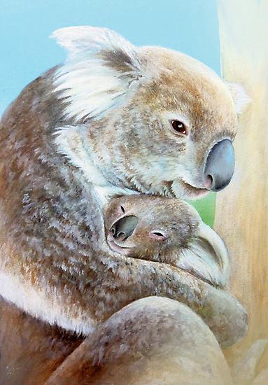 """The Koala cuddle"" portrait fine art by Sarah Trett"