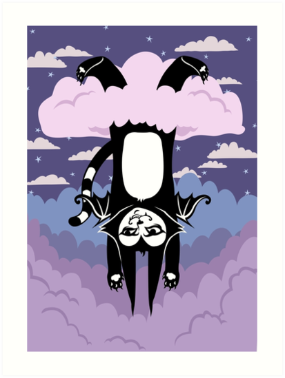 Cloud Games- Batcat Hangin' in a Raincloud by blacklilypie