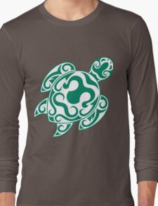 Tribal color turtle Long Sleeve T-Shirt