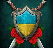 Ukrainian Flag on a Worn Shield and Crossed Swords by Jeff Bartels