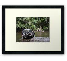 4wd - fording Arthur River, nw Tasmania Framed Print