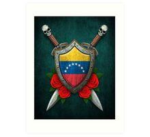 Venezuelan Flag on a Worn Shield and Crossed Swords Art Print