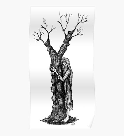 Unity of Souls surreal black and white pen ink drawing Poster