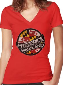 Frederick Maryland grunge scroll circle Women's Fitted V-Neck T-Shirt