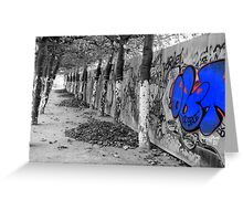 Brussels Wall, Trees, Graffiti Greeting Card