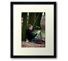 Young artist sketching in Middleheim Sculpture Park, Antwerp, Belgium Framed Print