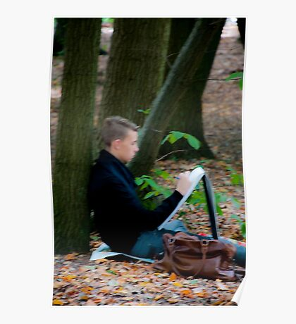 Young artist sketching in Middleheim Sculpture Park, Antwerp, Belgium Poster
