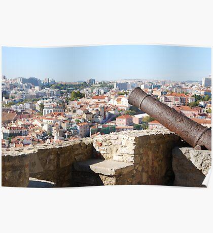 Lisbon cityscape over cannon Poster