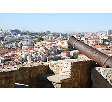 Lisbon cityscape over cannon Photographic Print