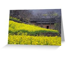 Yellow Flowers and Farmhouse, China Greeting Card