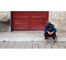 Old man in Mao suit, Chengu, Shaanxi Photographic Print