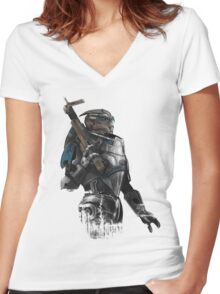 A busy Turian Women's Fitted V-Neck T-Shirt