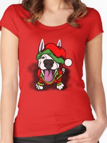 Christmas Festive Happy Bull Terrier Women's Fitted Scoop T-Shirt